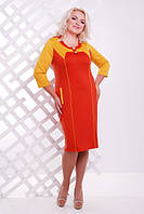 Женское  платье батал Стефани  Lenida терракот  50-58 размеры