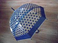 Зонт зонтик прозрачный трость, полуавтомат в горошек