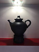 """Чайник керамічний з підставкою для підігріву 1.5 л""""Чорна кераміка"""""""