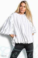 Эффектная женская шуба монто свободного фасона с удлинением сзади рукав три четверти эко мех