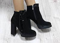 Ботиночки замшевые на каблуке демисезонные черные