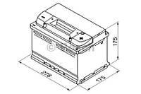 """Аккумулятор BOSCH S4 Silver 72Ah , EN 680 , низкий , правый """"+"""" , ( Bosch 0 092 S40 070 ) 278*175*175 (Д*Ш*В)"""