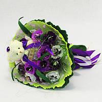 Букет из игрушек Мишка с конфетами фиолетовый