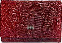 Эффектный женский кожаный кошелек с тиснением под кожу змеи DESISAN SHI305-500 красный