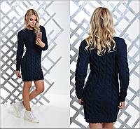 Женское вязаное платье туника Коса