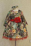 Комбинированное пышное платье на девочку с цветочным принтом и бантом на поясе атлас коттон