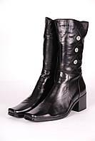 Сапоги женские 512-5 кожаные черные.