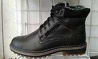 Ботинки мужские Riccone с натуральной кожи черные в стиле Timberland и CAT