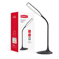 Светодиодная настольная LED лампа Maxus 6W сенсорное включение,диммер яркости+встроенный аккумулятор,черная.