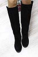 ЗЗимние замшевые сапоги черные без замка с широкой голенью
