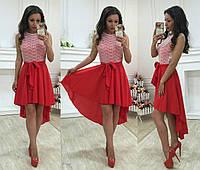 """Стильное красное платье"""" Оскар"""" с кружевным верхом. Арт-8766/74"""