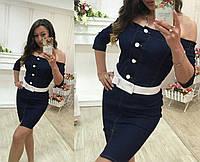 """Синее джинсовое платье """" Форвард """" с белыми пуговицами, пояс отдельно. Арт-8767/74"""