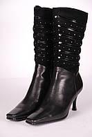 Сапоги женские М508706-3 кожаные черные.
