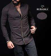 Коричневая мужская рубашка отличного качества