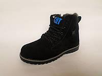 Ботинки зимние Cat  из натуральной кожи на шерстяном меху для мальчиков на молнии и шнурках