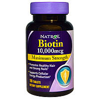Витамины для кожи, ногтей и волос Natrol Biotin (10 мг) (100 таб)