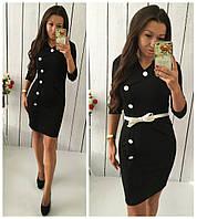 Черное стрейчевое платье с пуговицами, пояс в комплекте. Арт-8725/74