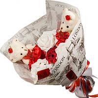 Букет из мягких игрушек Мишки в бумаге Лондон