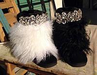 Угги женские с опушкой из натурального меха ламы.Состав натуральный замш. Размер 36-40. АВ 7107