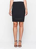 Юбка большого размера классическая 60130, юбка прямая, юбка до колена, черная юбка, для офиса, для школы