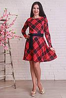 Трикотажное красное платье в клетку