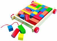 Тележка с цветными кубиками Bino 34 детали (80151)