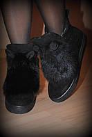 """Ботинки черные зимние """"УШКИ"""" натуральный замш и мех  код 1294"""