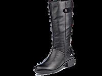 Сапоги еврозима  женские МИДА 24597 черные, кожаные на маленьком каблуке.