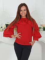 Нарядная Блузка с воланами красная, фото 1