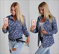 Женская стильная джинсовая рубашка