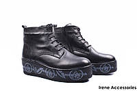 Ботинки женские кожаные Phany (ботильоны, стильные, платформа, нат. мех, антискользящая подошва, Турция)