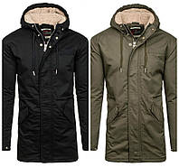 Мужская зимняя черная и зеленая куртка парка