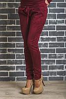 Стильные замшевые брюки бордовые