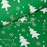 Хлопковая ткань Новогодняя зеленая