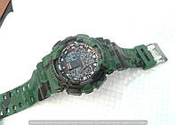 Часы Casio G-Shock GA-100 114422 мужские зеленые хаки камуфляж водонепроницаемые с подсветкой календарь