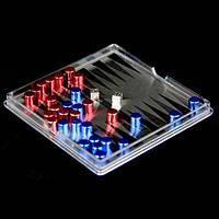 Маленькие мини магнитные нарды дорожные в пластиковой коробке MPS3000