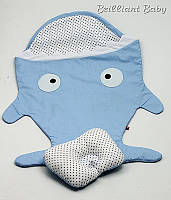 """Детский спальник, чехол в коляску """"Акула"""" в наборе с подушкой"""