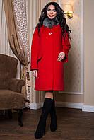 Женское красное зимнее пальто с большим мехом (р. 44-54) арт. 978 Тон 12/1