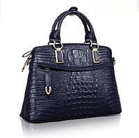 Женская деловая сумка из натуральной кожи с тиснением под крокодила