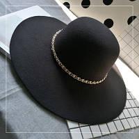Шляпа женская фетровая с широкими полями с цепочкой черная