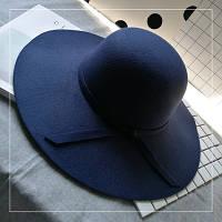 Шляпа женская фетровая с широкими полями темно синяя