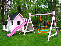 Детская игровая площадка для девочек PINK с горкой и качелями