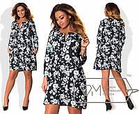 Свободное принтованное платье в больших размерах r-1515892