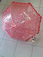 Зонтик красный детский,прозрачный,качественная трость