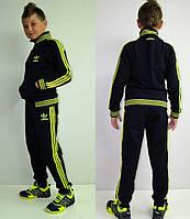 Детский спортивный костюм Adidas темно-синий с салатовым лампасом