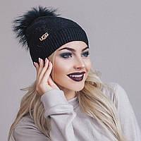 Ультрамодная женская шапка с брошью и помпоном из натурального меха шерсть