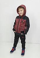 Теплый детский спортивный костюм Джордан с начесом, бордовый
