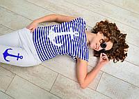 Спортивный костюм женский в морском стиле штаны и футболка