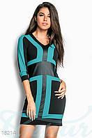 Контрастное платье футляр. Цвет бирюзово-черный.