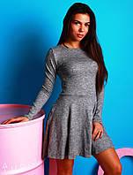 Стильное трикотажное платье (свободная юбка, длина выше колен, длинные рукава, трикотаж вязка) РАЗНЫЕ ЦВЕТА!